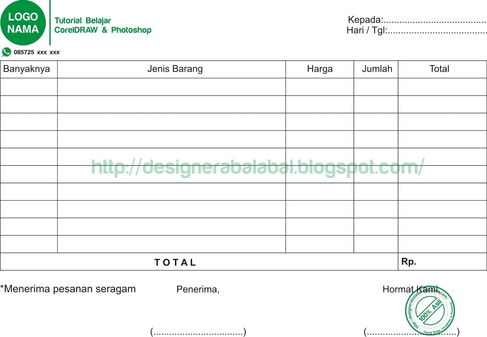 Download Desain Nota Format CorelDRAW | Belajar CorelDRAW ...