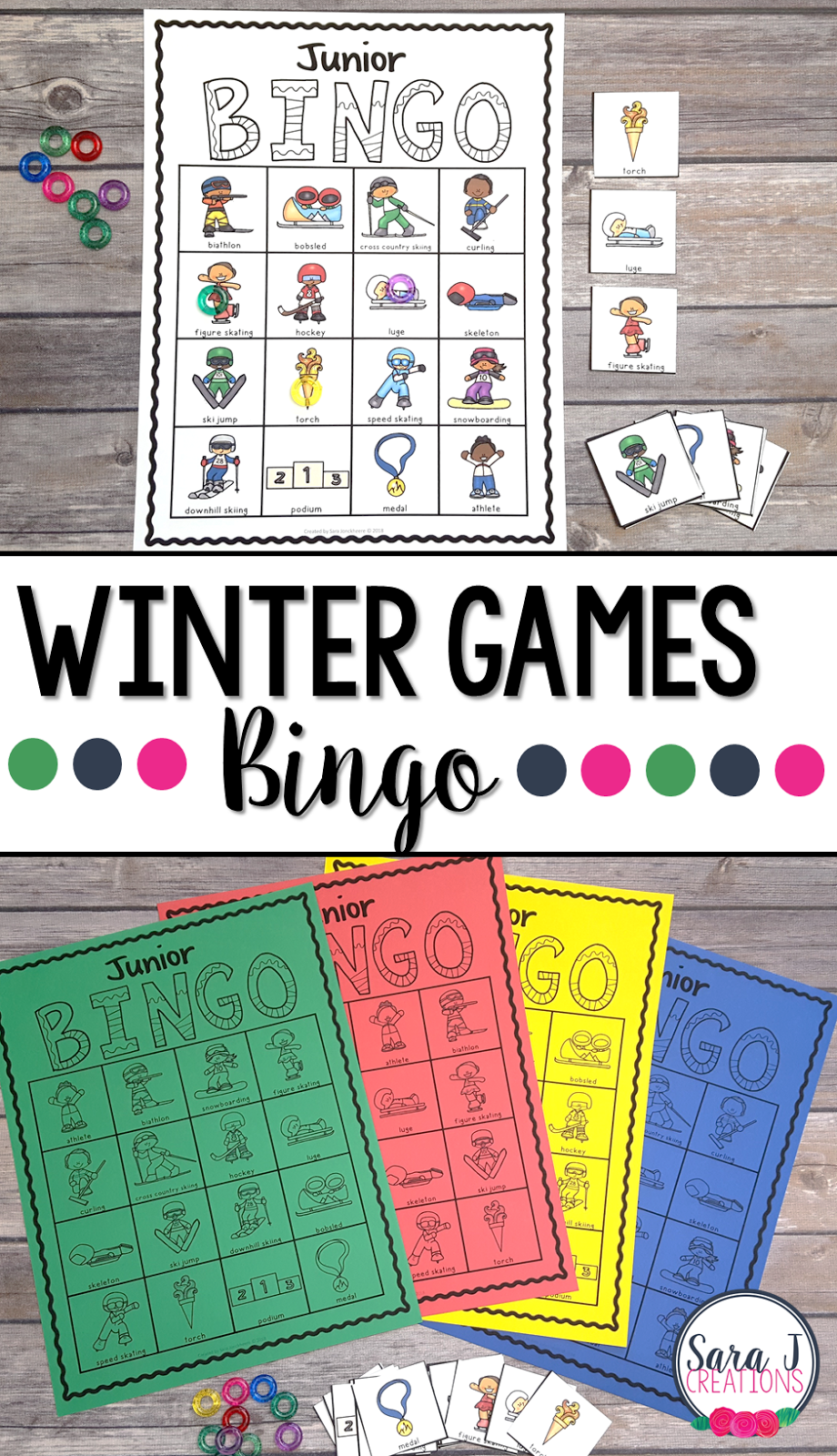 Get your students excited to watch the Winter Games with this fun bingo game. Great way for kids to learn vocabulary of the different sports played at the Winter Games. #wintergames #bingo #games #sarajcreations