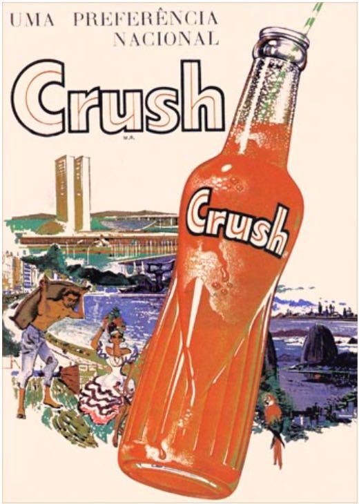 Propaganda antiga do Refrigerante Crush veiculada em 1964 com referência aos brasileiros
