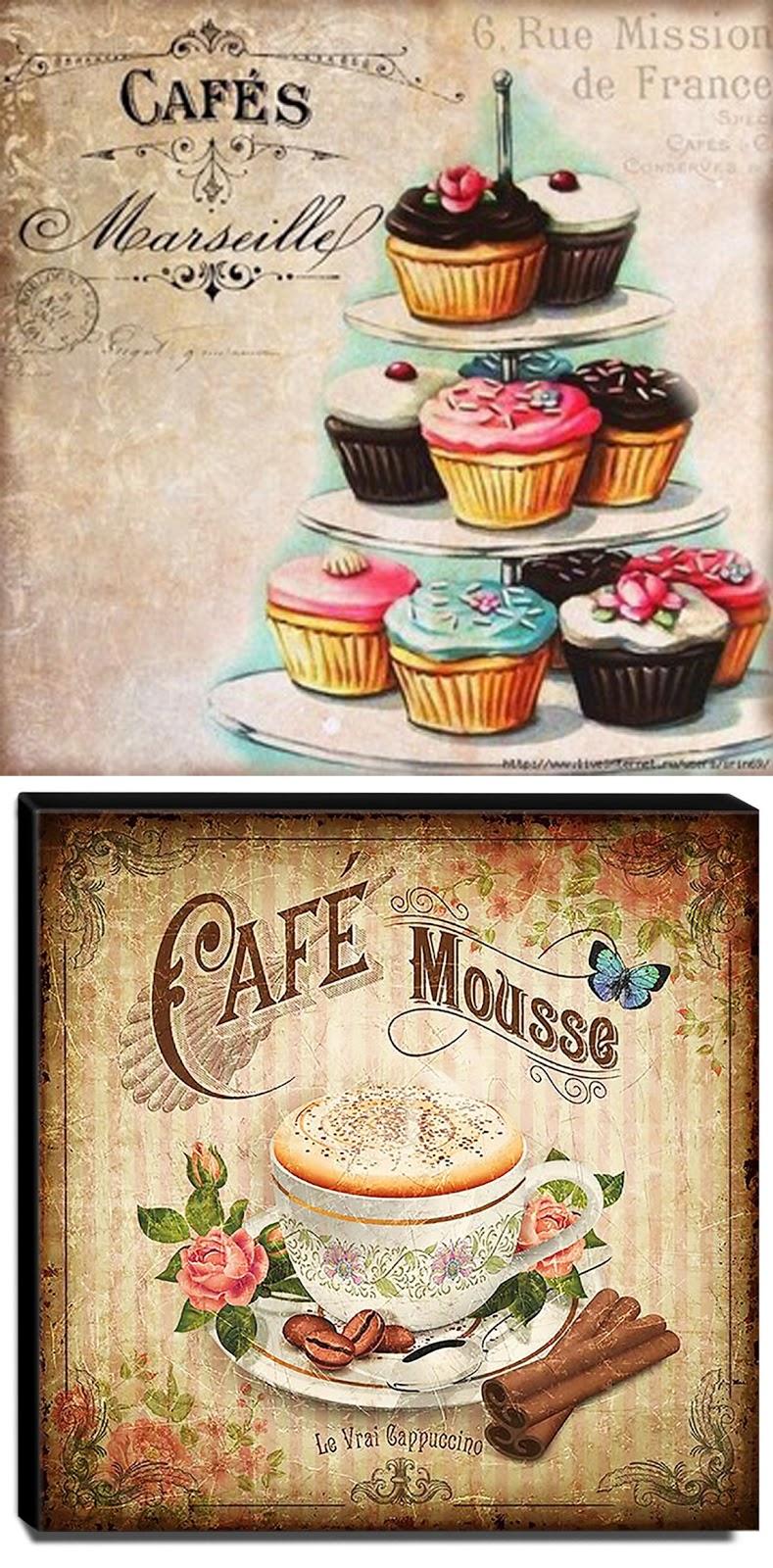 quadro vintage cupcake