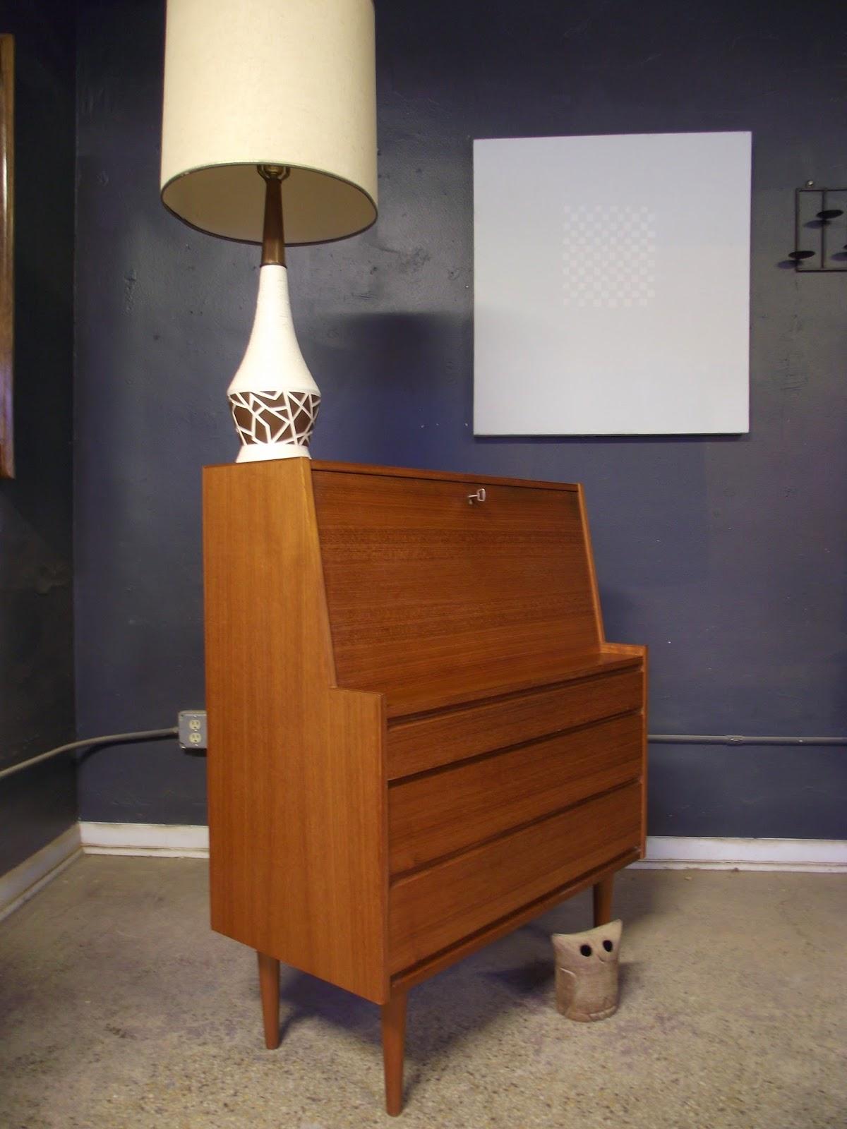 Vintage Ground Mid Century Danish Modern Secretary Desk