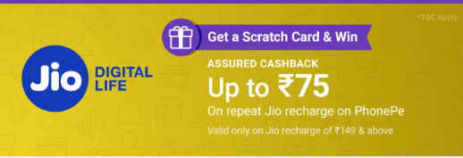 Win up to 75 Cashback On Repeat Jio Recharge On PhonePe in Hindi