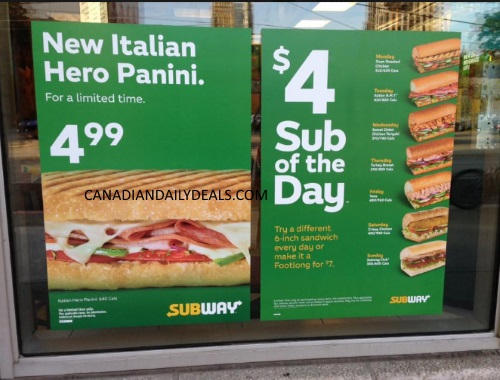 Subway special thursday 2018