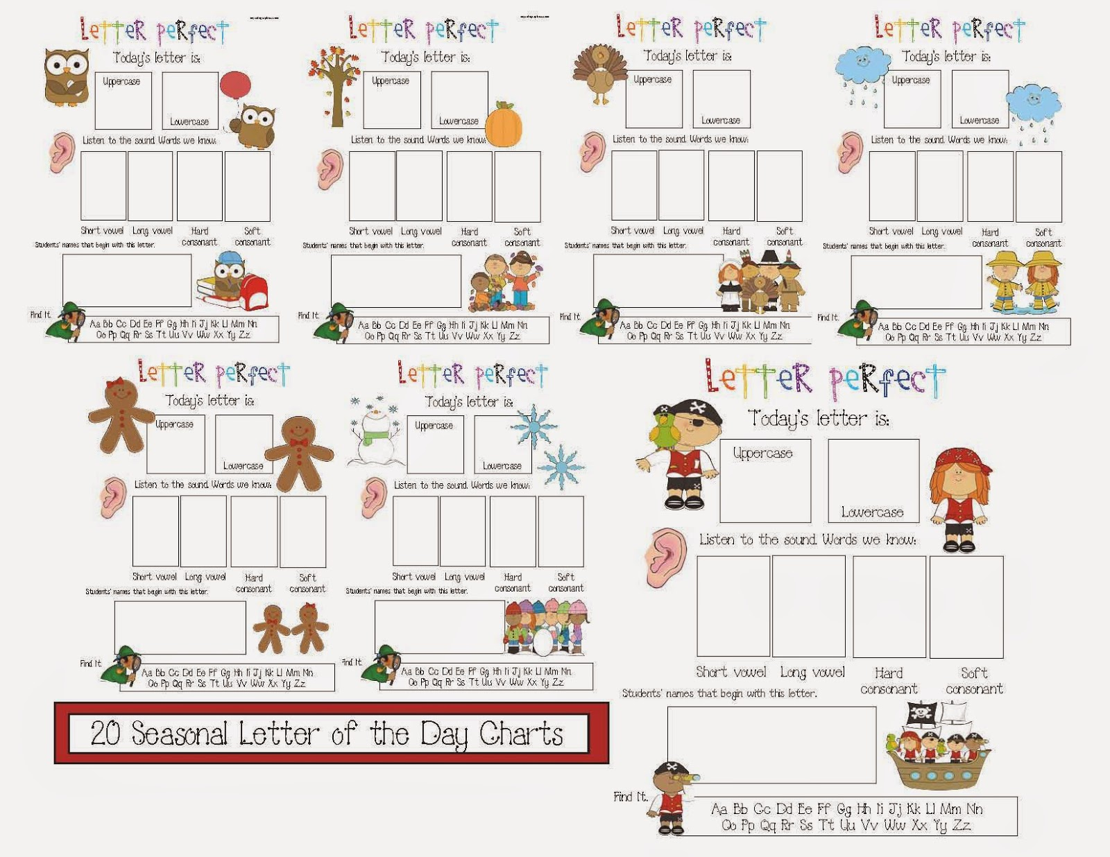 Classroom Freebies Letter of the Day Posters