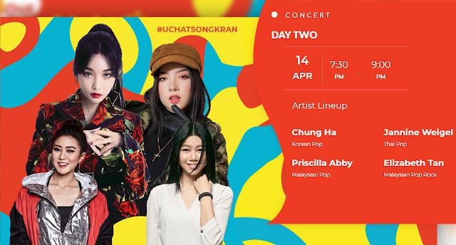 UCHAT SONGKRAN DAY-OUT Concert Chung Ha Jannie Weigel Priscilla Abby Elizabeth Tan SETIA CITY OVAL LAWN