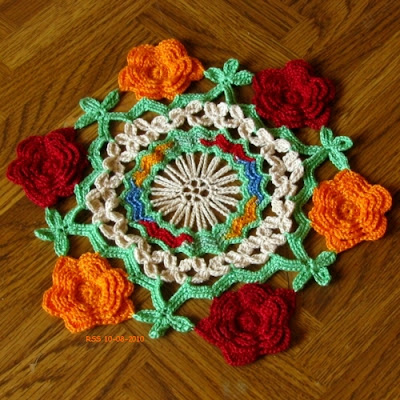 Red, Yellow and Green 3D Flower Doily - Hand-Crocheted by RSS Designs In Fiber - Sold - Email for Custom Order Request