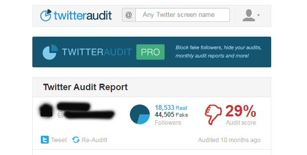 Auditing real or fake twitter accounts