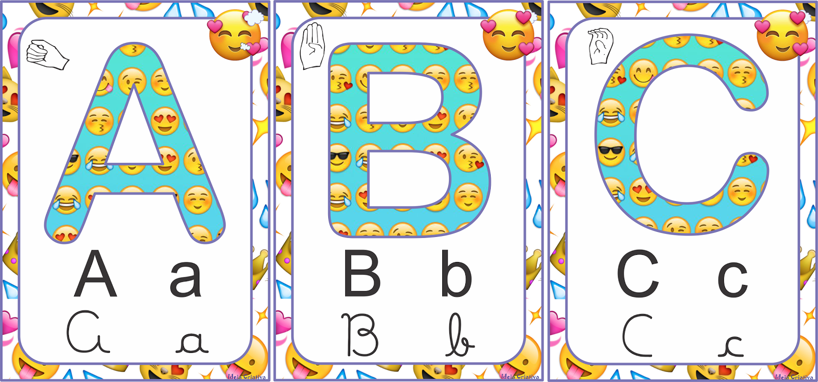 Alfabetos Ideia Criativa Alfabeto Emoji Bastão Imprensa Cursiva E