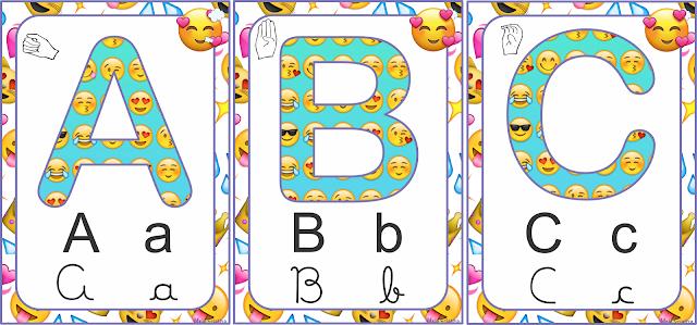 Alfabeto Emoji Bastão, imprensa, cursiva e LIBRAS