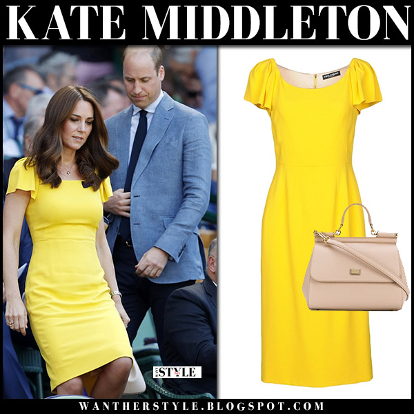 Kate Middleton in yellow dress dolce gabbana wimbledon final july 15