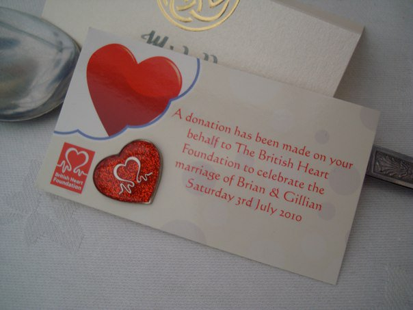 We Decided To Give Charity Wedding Favours Our Chosen Was The British Heart Foundation Designed Little Cards You Need Ask Permission Do