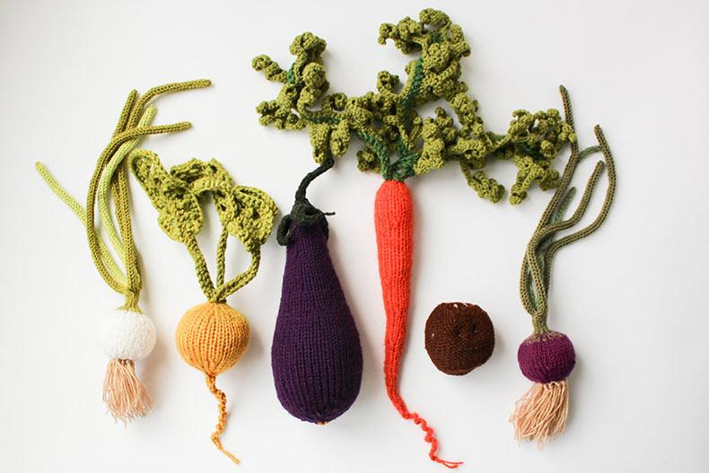 Frutas y verduras de punto por 'MapleApple' lucen tan buenos como para comerlos