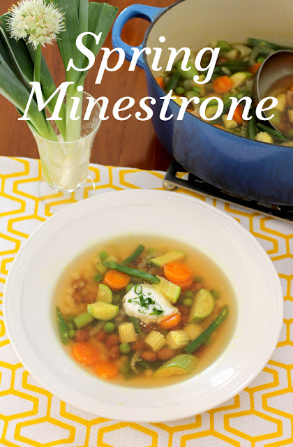 Food Lust People Love: Spring Minestrone is the perfect light meal, with tender young vegetables in a clear broth, topped with crème fraîche. You can, of course, substitute whatever fresh from the garden veggies you have available.