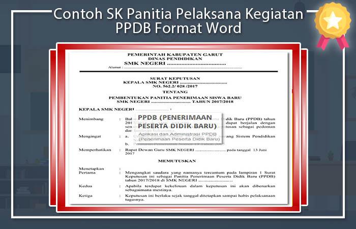 Contoh SK Panitia Pelaksana Kegiatan PPDB Format Word