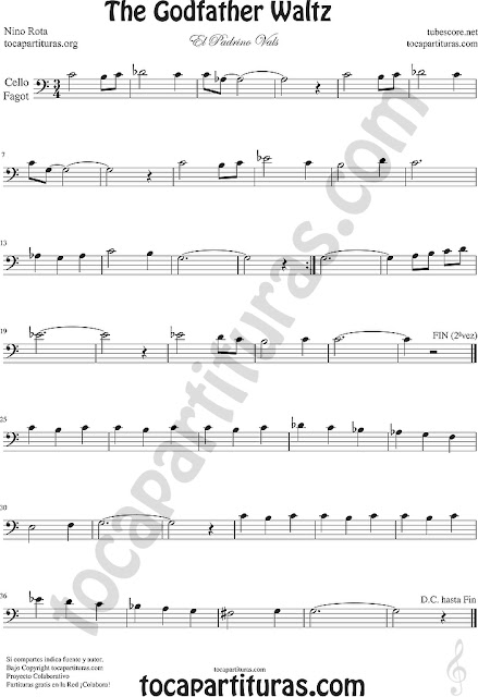 Violonchelo y Fagot Partitura de El Padrino Vals  Sheet Music for Cello and Bassoon Music Scores