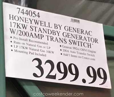 Deal for the Generac Honeywell 17kW Automatic Standby Generator at Costco