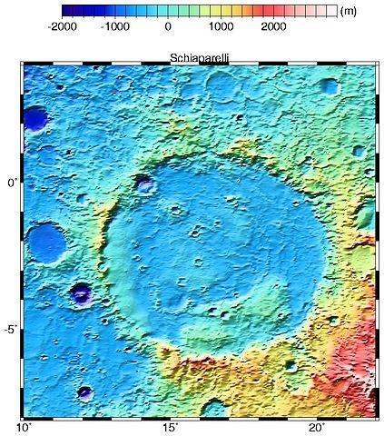 Schiaparelli crater on Mars By NASA - http://ltpwww.gsfc.nasa.gov/tharsis/regional.html, Public Domain