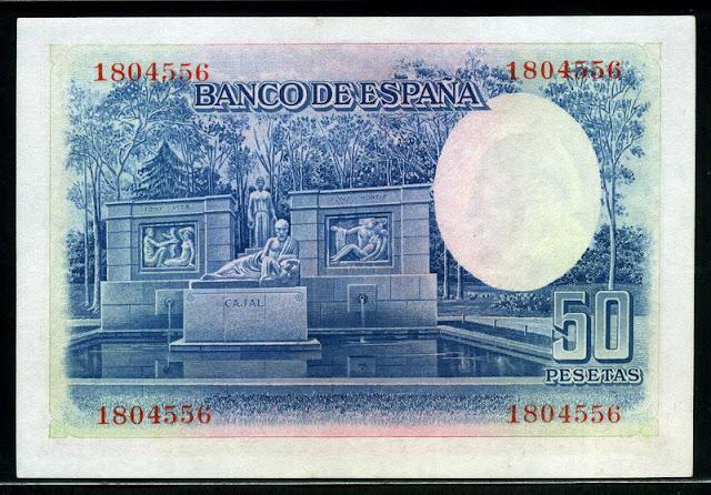 Spain money 50 Pesetas banknote Spanish Currency