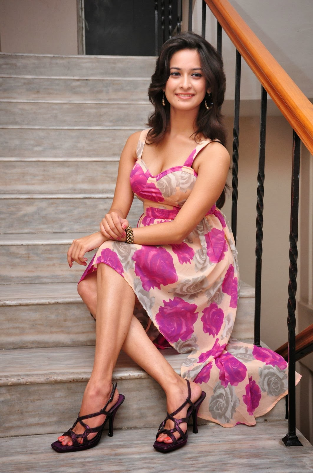 Cute and enticing Mrudula hot photos in floral short dress
