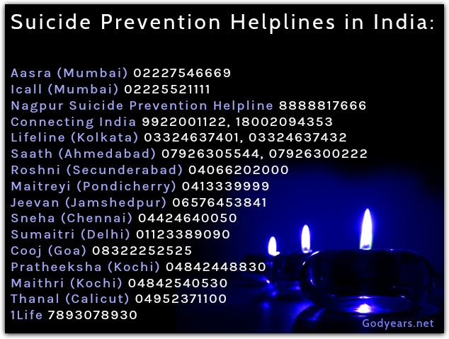 A list of the Suicide Prevention Helpline phone numbers in India