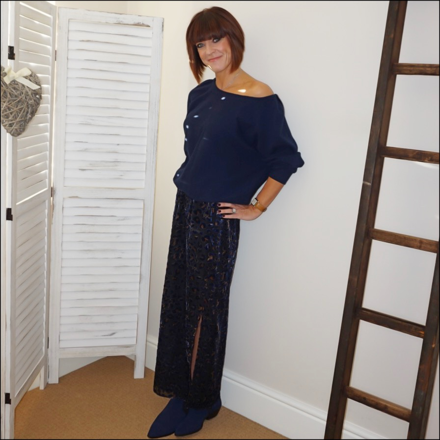 my midlife fashion, iris and ink cashmere off the shoulder jumper, hush devore leopard maxi skirt, marks and spencer suede western ankle boots
