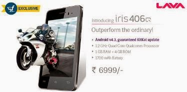 Exclusively @ Flipkart: Lava Iris 406Q (Quad Core 1.2 GHz CPU with Adreno 302 Graphics Unit, 1GB RAM, 1700mAh Battery, Upgrade KitKat4.4) for Rs.6999 Only