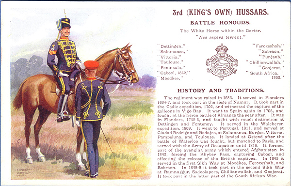 Army Service Numbers 1881-1918: 3rd (King's Own) Hussars