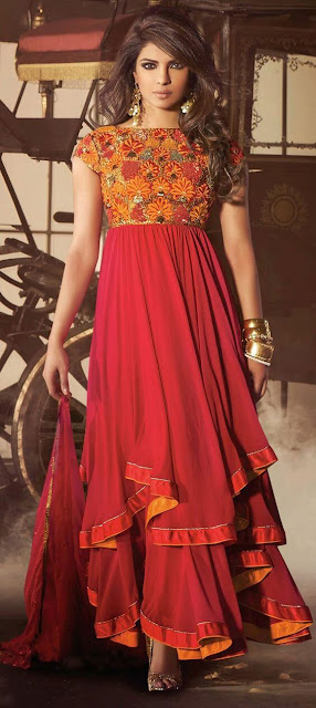 Bollywood Diva Priyanka Chopra In Red And Maroon Color Family Semi-Stiched Bollywood Salwar Kameez.