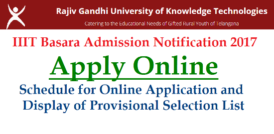 IIIT Basara Admission Notification for the 2017 year is out. Schedule for Indian Institute of Information Technology Basar known as RGUKT IIIT has been released by the Officials at IIIT Basara Campus | SSC Passed Students are eligible to Apply Online at RGUKT Official Website | Provisional Selection List will be prepared on meritorious Marks based got in 10th/SSC Examinations held in March 2017 in Telangana | IIIT UG Programme Admission Schedule for 2017 iiit-basara-admission-notification-2017-online-aplication-form-selection-list-download