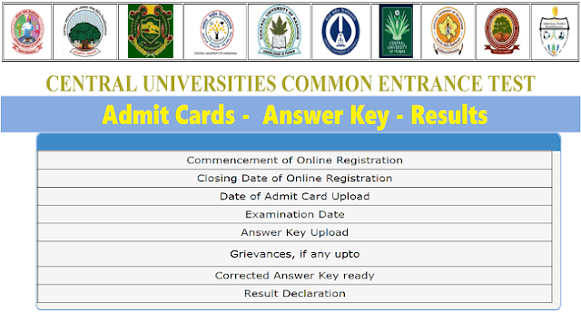 CUCET Admit cards,cucet answer key,cucet results