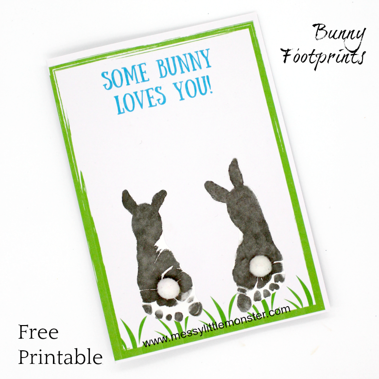 picture regarding Printable Easter Bunny Footprints titled Footprint Bunny Craft - No cost printable keepsake card - Messy