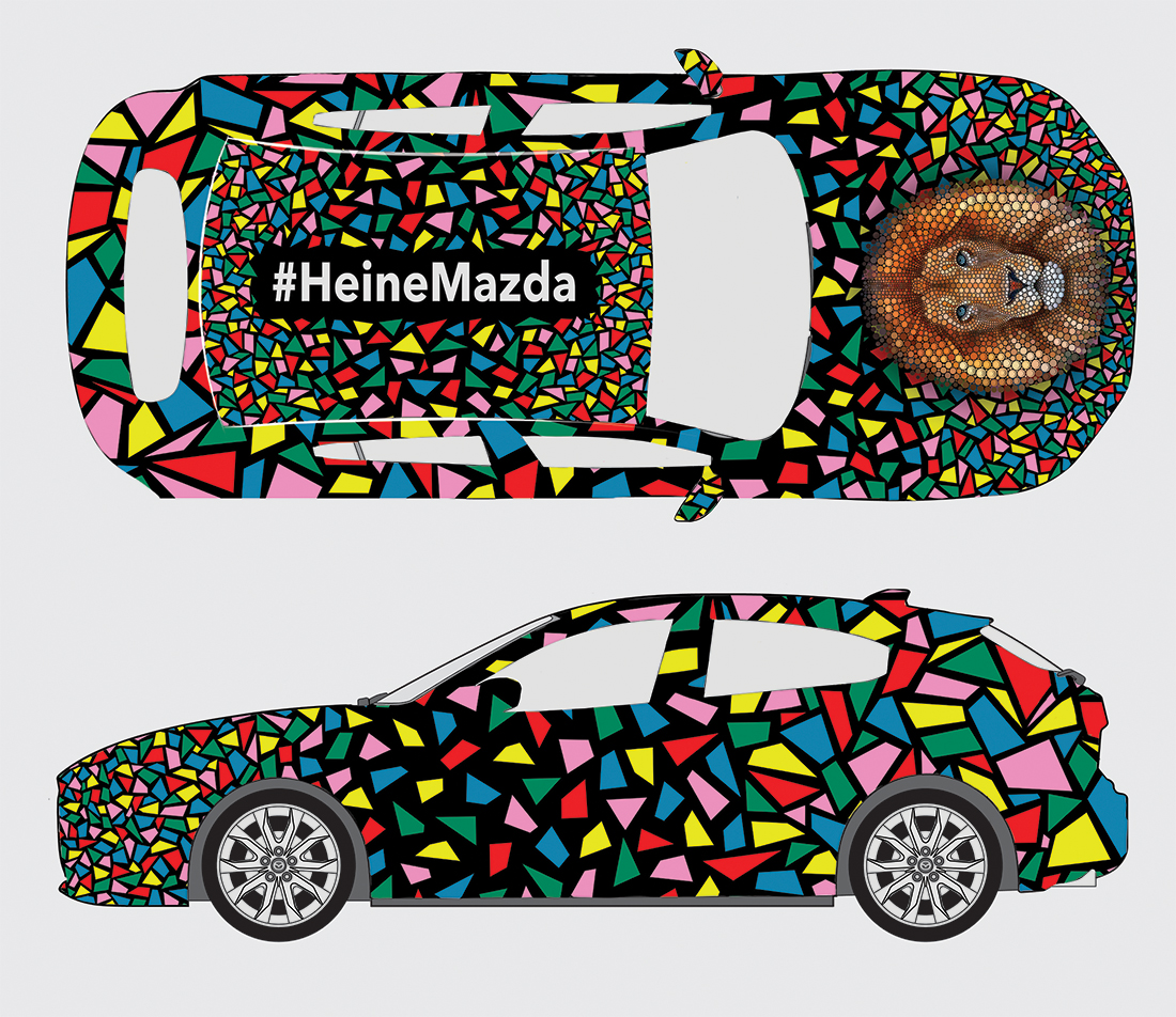 Ben Heine Design on Mazda Car at Brussels Affordable Art Fair (lion made of circles and colorful abstract composition) - 2015