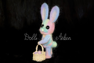 OOAK needle felted Easter bunny with basket of eggs
