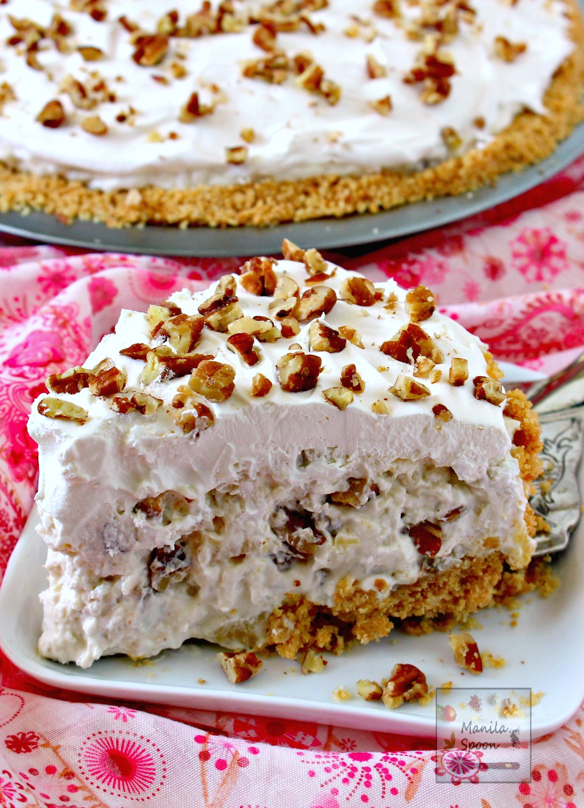 In 15 minutes or less you can make this easy and yummy classic pie that's creamy, fruity-sweet, light and no bake, too. We served this in a potluck and it was a huge hit! Perfect for Christmas and New Year celebrations!!| manilaspoon.com