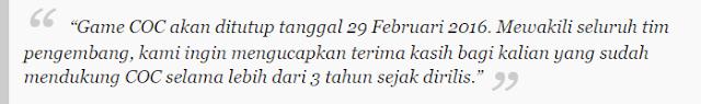Nama Anoushka sendiri merupakan salah satu staf Supercell atau pengembang game strategi COC, dan isi pengumuman tersebut tertulis bahwa server COC pada 29 Februari 2016 mendatang akan ditutup