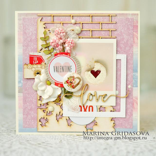 Valentine card | I-Kropka DT @akonitt #card #cvards #by_marina_gridasova #ikropka #chipboard #scrapberrys #diecuts #dies #flowercard #valentinecard #lovecard #chictags##