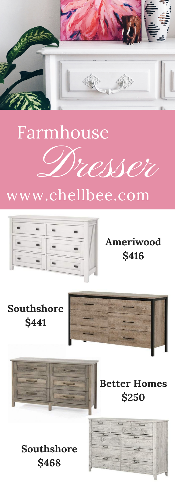 Farmhouse Bedroom | Update your bedroom decor with one of these beautiful dresser. These bedroom dresser are perfect if you love farmhouse style. #Farmhousedecor #Farmhousestyle