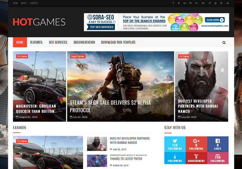Hot Games Gaming Blogger Template | High Quality Free Blogger Templates