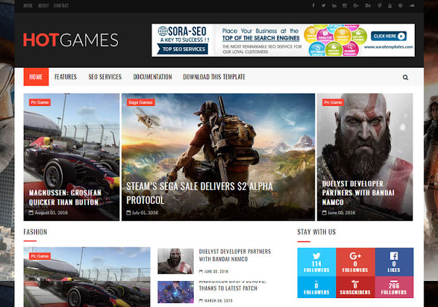 Hot Games Gaming Blogger Template
