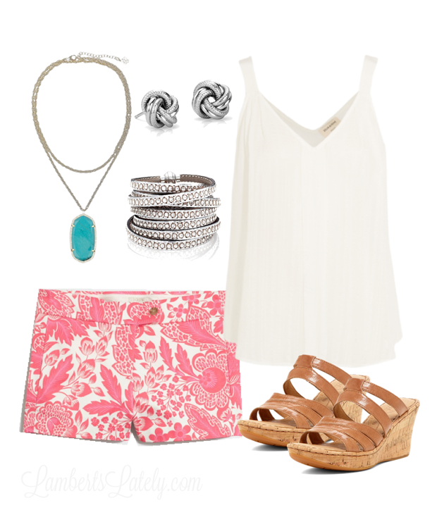 Spring and Summer Outfit Idea...Turquoise Kendra Scott Necklace, Printed J Crew Shorts, Wedges