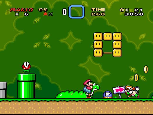 Gráficos del juego de Super Mario World para Nintengo Super NES