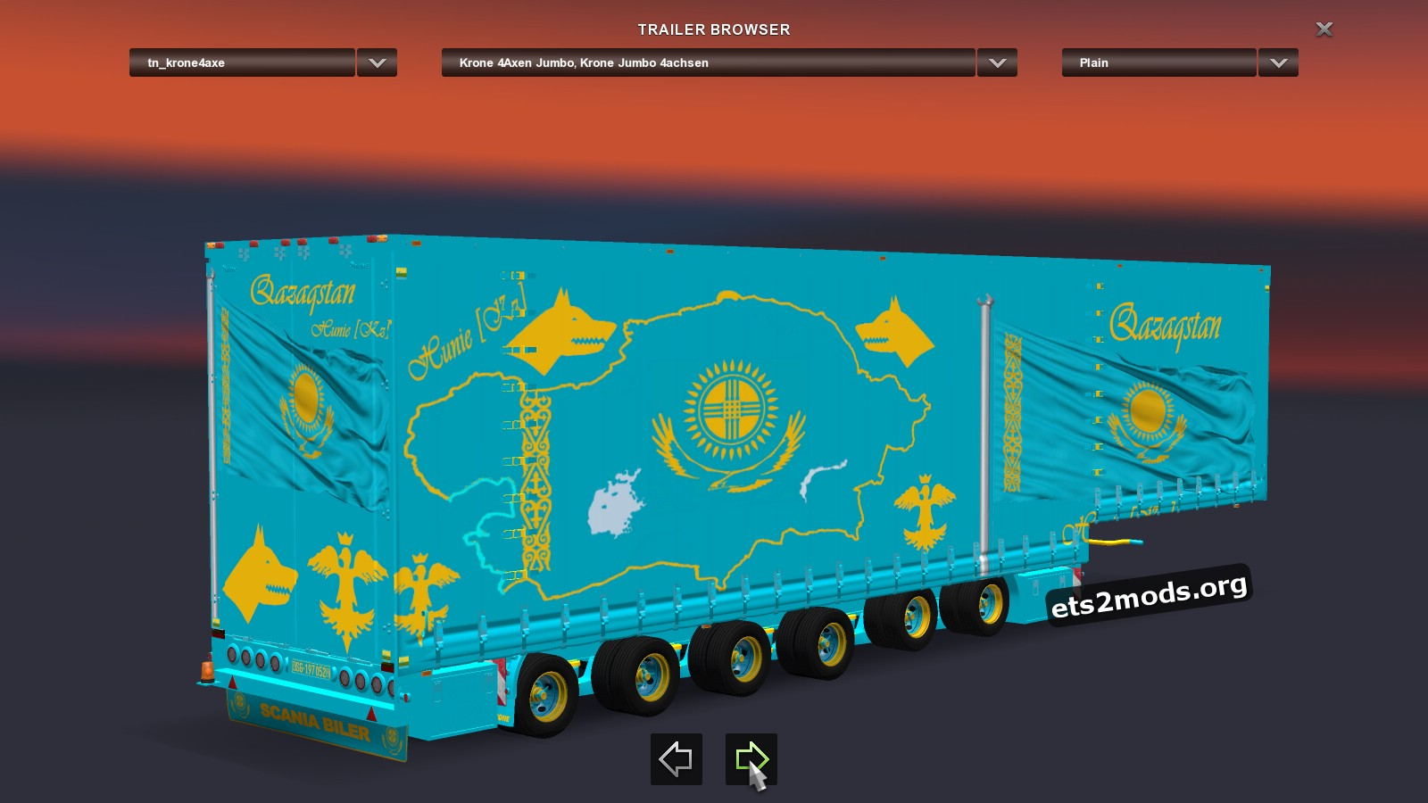 Trailer Kazakhstan Flag with 6 axle (2 passive)