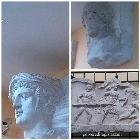 particolari in marmo degli elementi decorativi che abbellivano l'anfiteatro