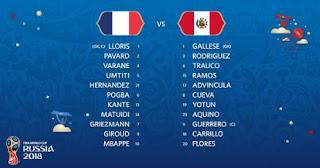 Susunan Pemain Prancis vs Peru - Piala Dunia 2018