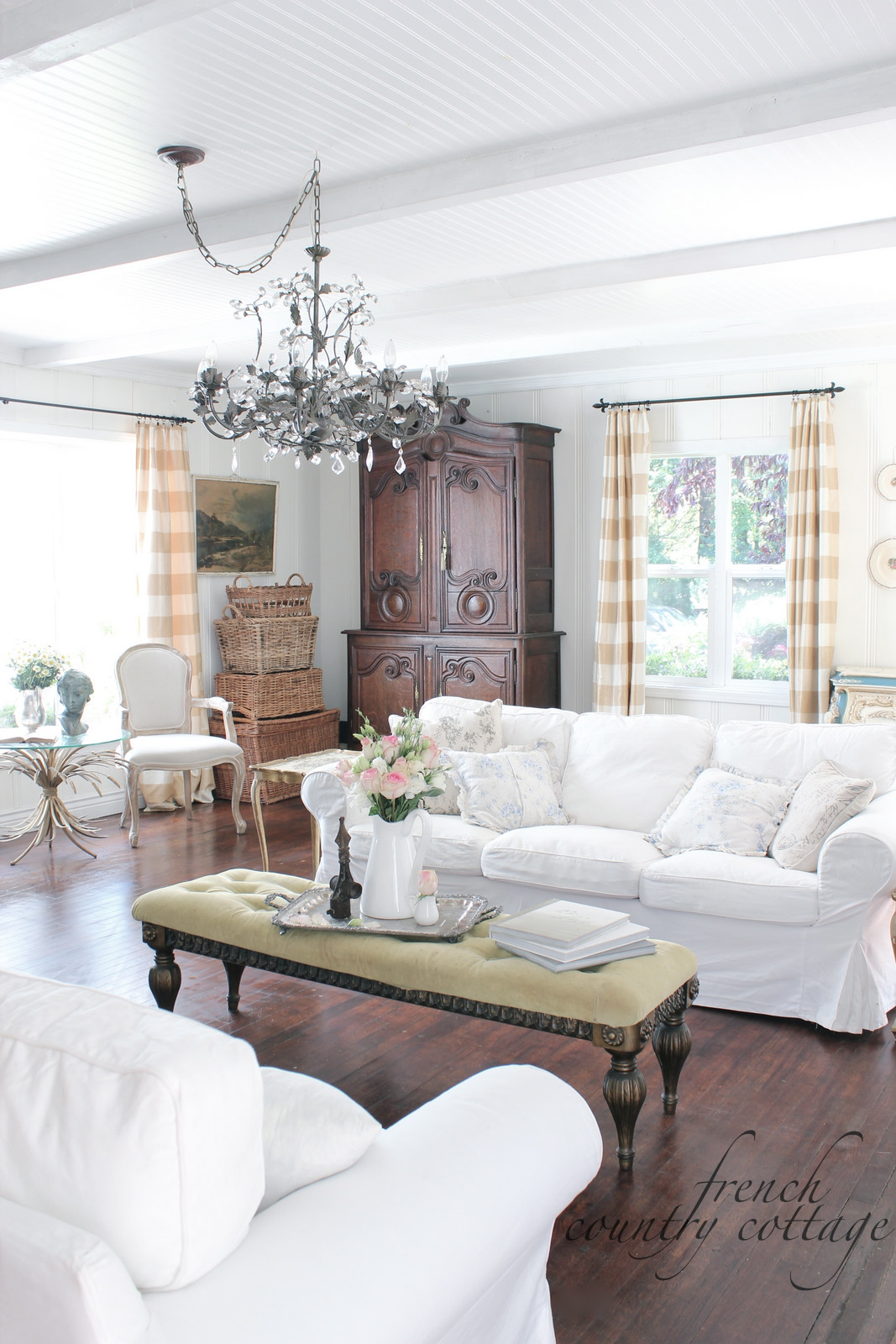 white slipcovered sofa living room how to decorate my rustic slipcovers french country cottage