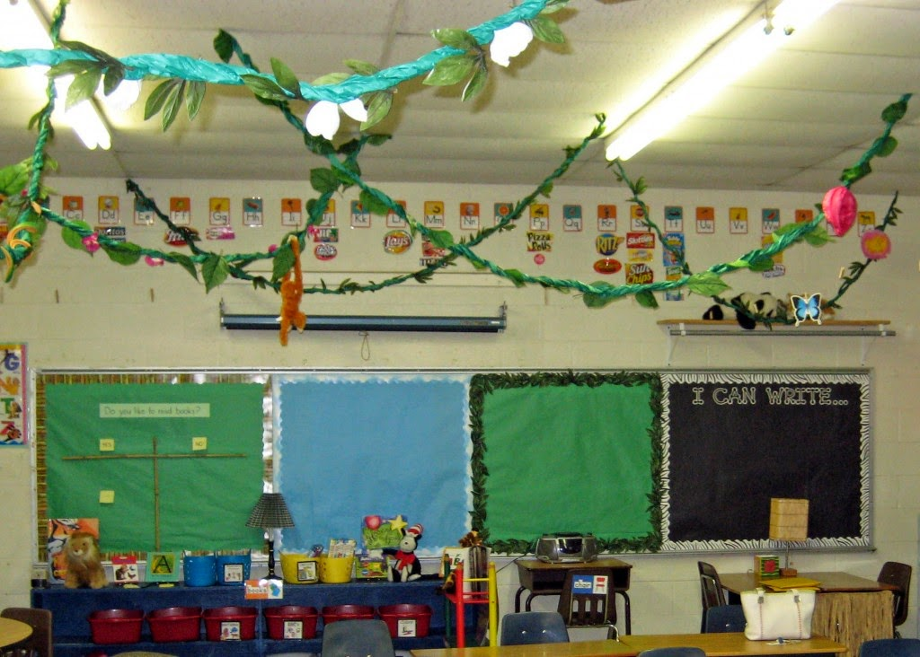 Rainforest Classroom Decor ~ Jungle safari themed classrooms clutter free classroom