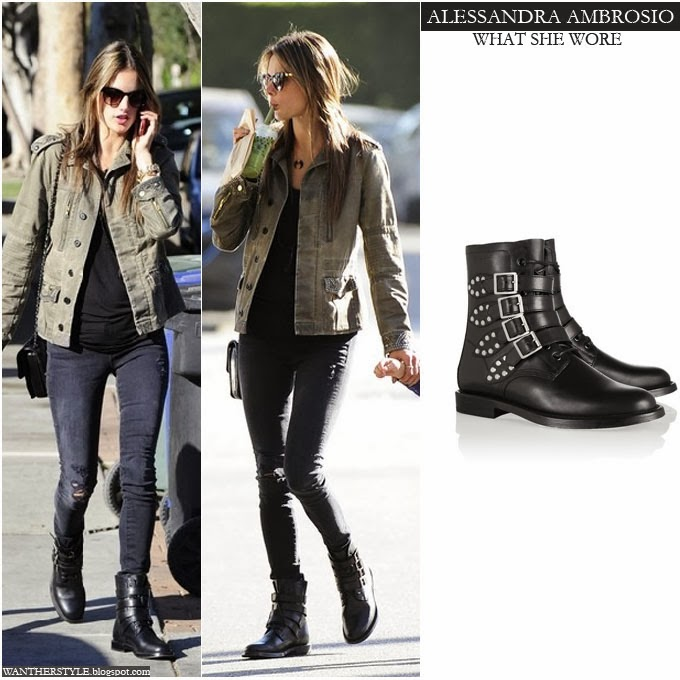1bd2ac6df48a5 Alessandra Ambrosio in black biker ankle boots with army green jacket and  black distressed jeans Want