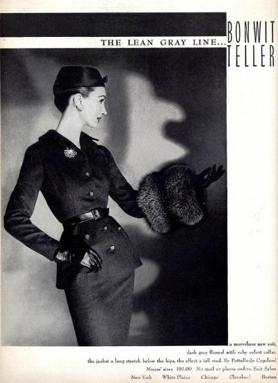 Pattullo-Jo Copeland Dark Gray Flannel Suit With Ruby Velvet Collar The Lean Gray Line for Bonwit Teller