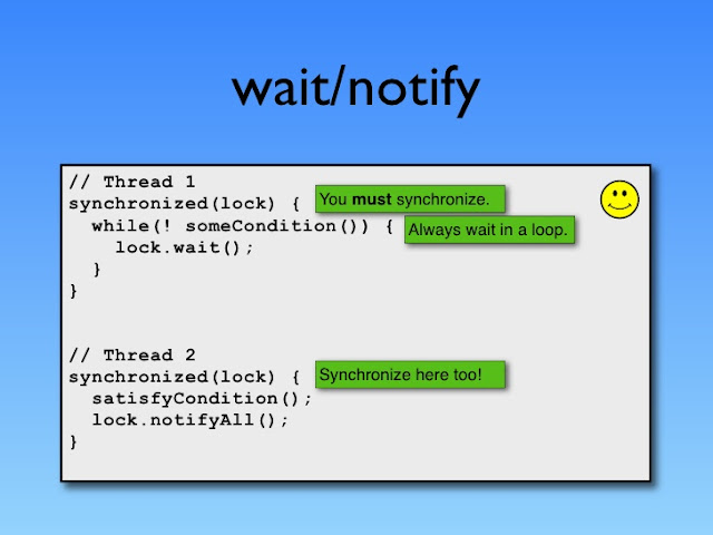 """wait notify and notifyall in java synchronized"