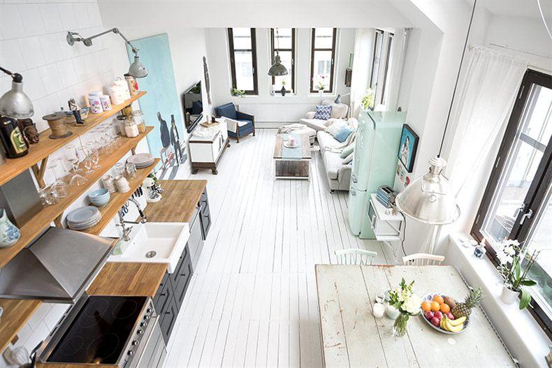 Salon - Agradables detalles en tono pastel para este precioso mini piso nordico